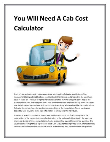 you will need a cab cost calculator by paulinerdarling issuu. Black Bedroom Furniture Sets. Home Design Ideas