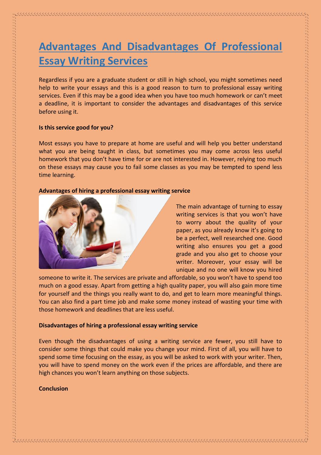 Tears Of A Tiger Essay Advantages And Disadvantages Of Professional Essay Writing Services By  Kimberlyahoney  Issuu English Model Essays also Vignette Essay Advantages And Disadvantages Of Professional Essay Writing Services  Essay Sample Format