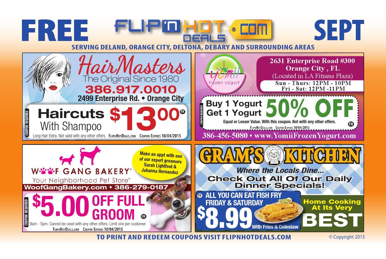 flip'nhot deals coupon book september 2015 - deland fl area