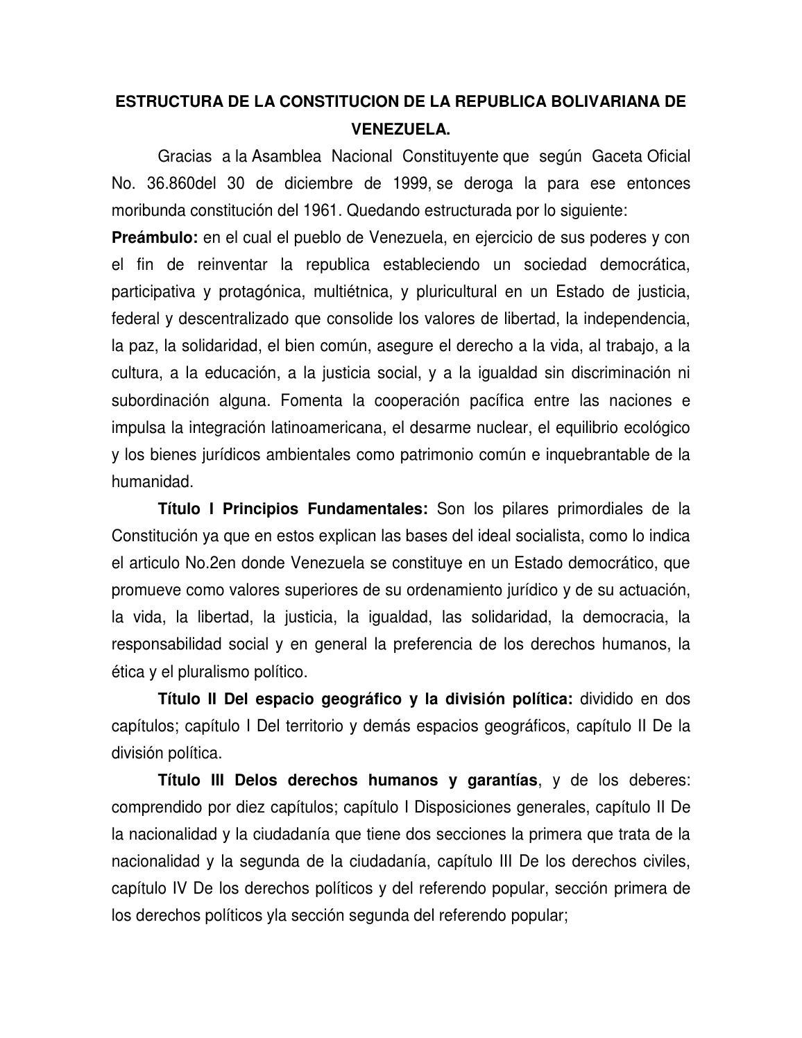 Estructura De La Constitucion De La Republica Bolivariana De