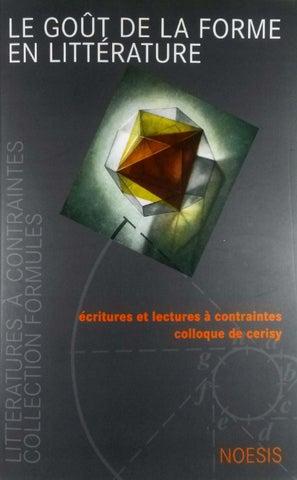 Le goût de la forme en littérature by Bernardo Schiavetta-Gonzalvi ... f560a181eee