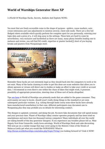 World of Warships Generator Have XP by worldofwarships0 - issuu