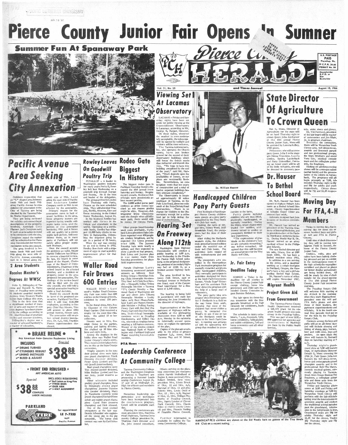 Pierce county herald v 21 no 50 aug 10, 1966 by Pacific Lutheran ...