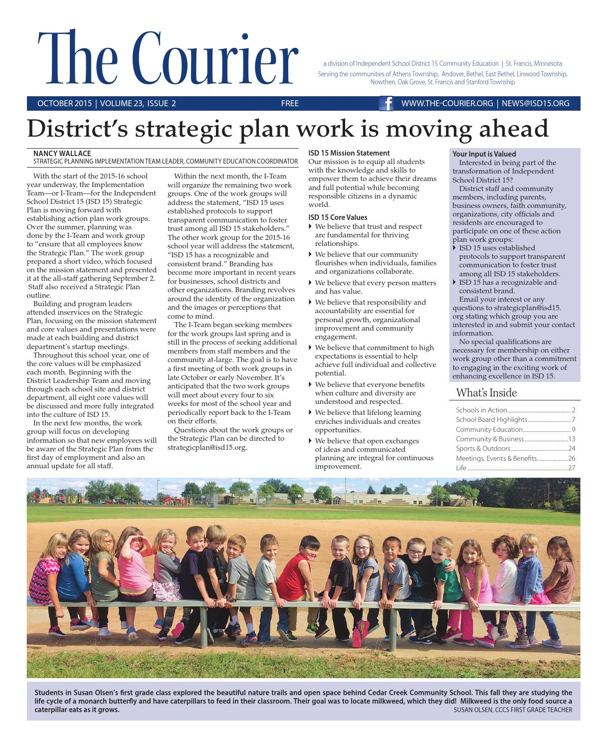 The Courier - October 2015 by St. Francis Area Schools - issuu