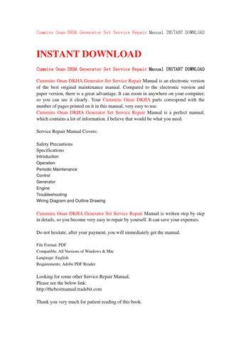 cummins onan dkha generator set service repair manual. Black Bedroom Furniture Sets. Home Design Ideas