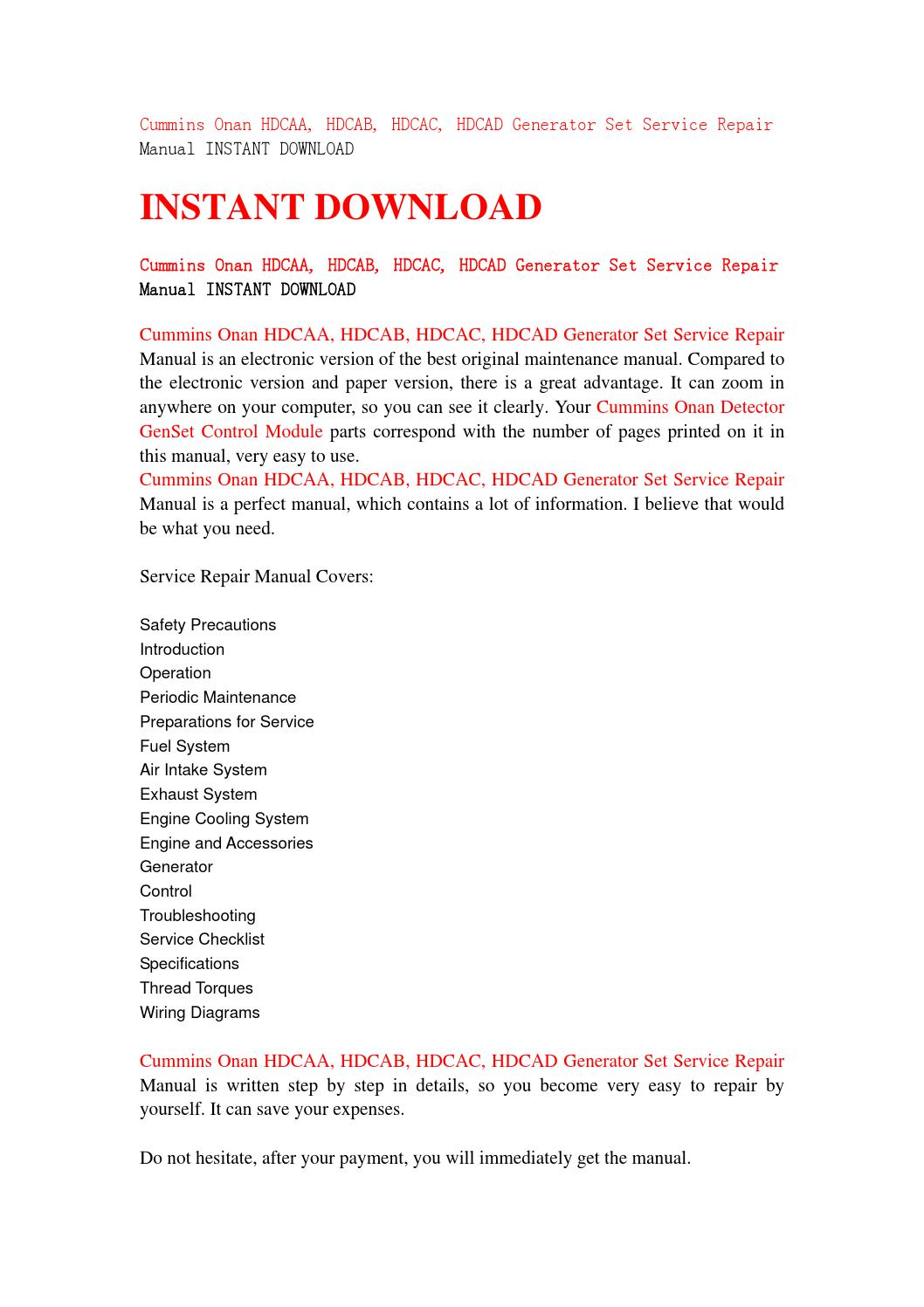 Cummins Onan Hdcaa Hdcab Hdcac Hdcad Generator Set Service Repair Fuel Pump Wiring Diagram Manual Instant Download By Jfhsjefn67 Issuu
