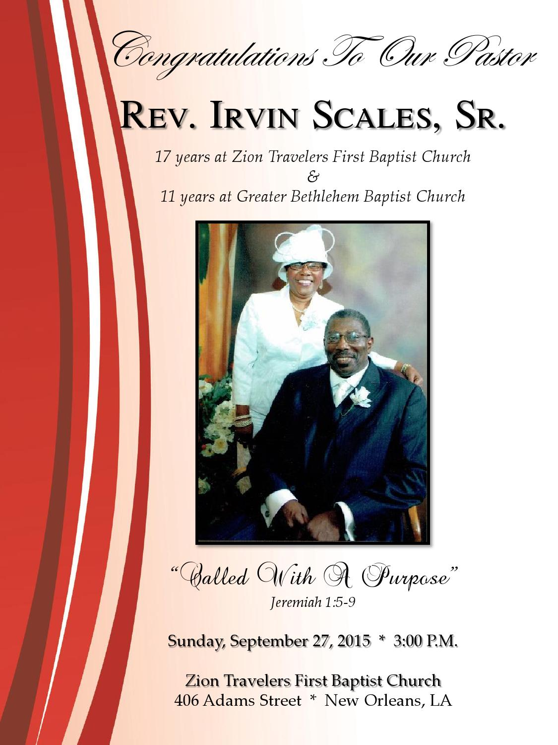 Pastor irvin scales anniversary program by our for First ch