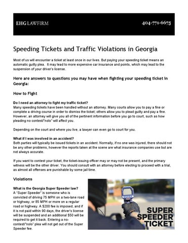 Speeding tickets and traffic violations in Georgia by EHG Law Firm