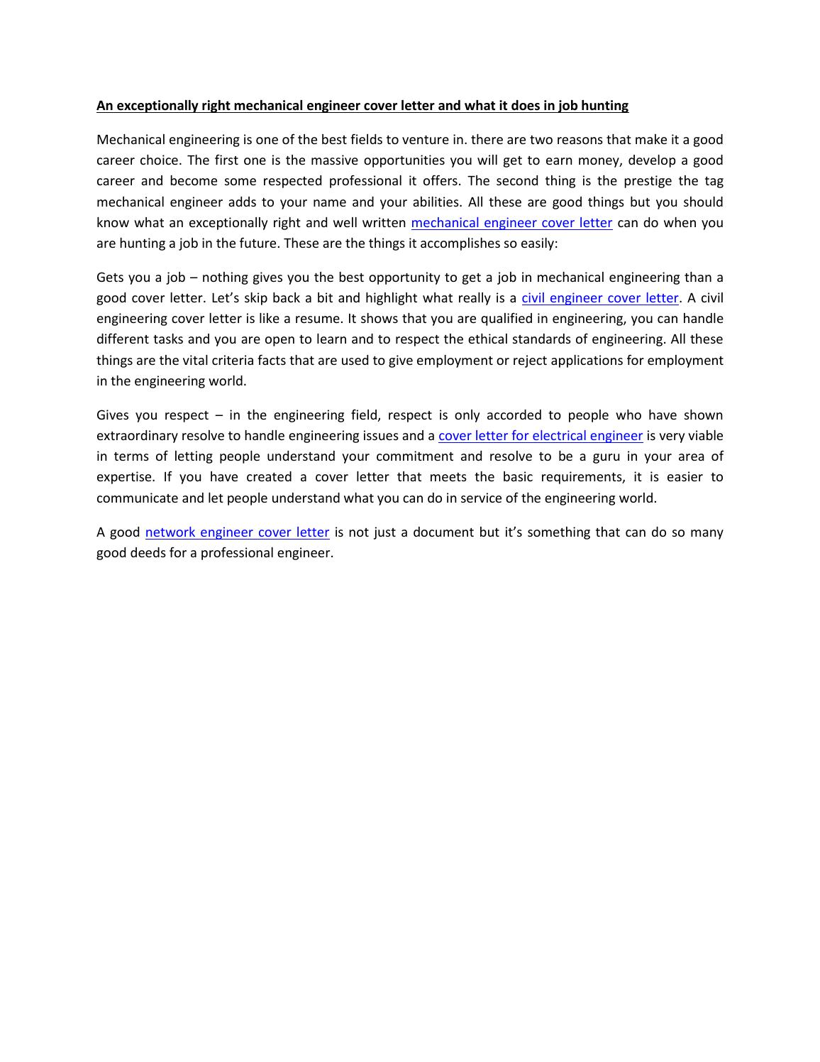 An exceptionally right mechanical engineer cover letter and what it ...
