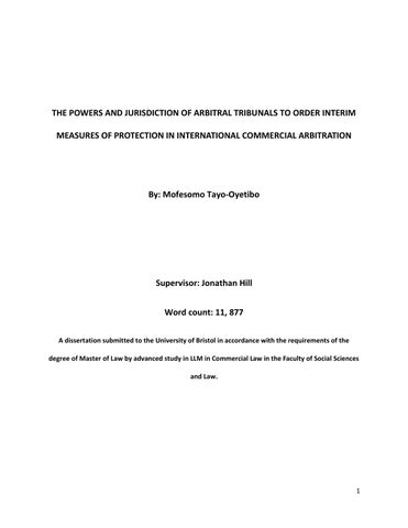 The Powers And Jurisdiction Of Arbitral Tribunals To Order Interim