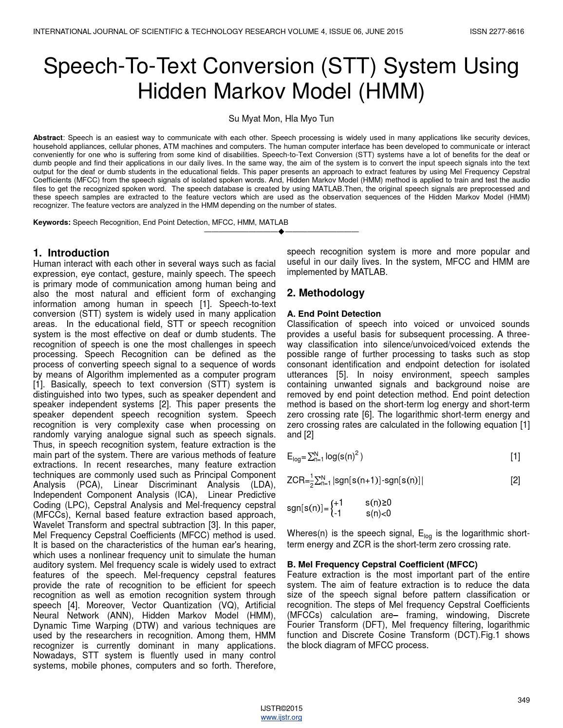 Speech to text conversion stt system using hidden markov model hmm
