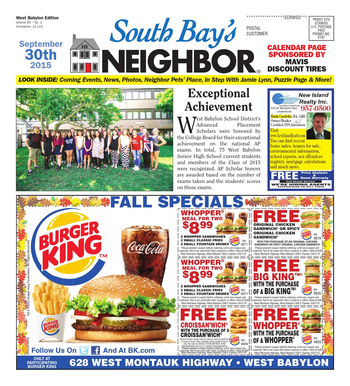 September 30 2015 West Babylon By South Bay S Neighbor Newspapers