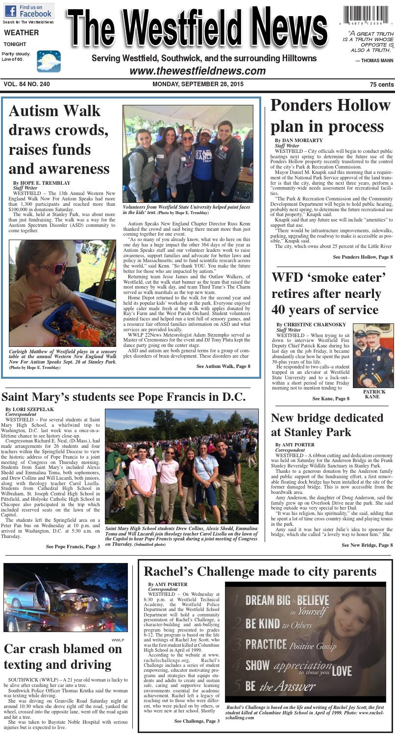 Autism Speaks Reports Double Digit >> Monday September 28 2015 By The Westfield News Issuu