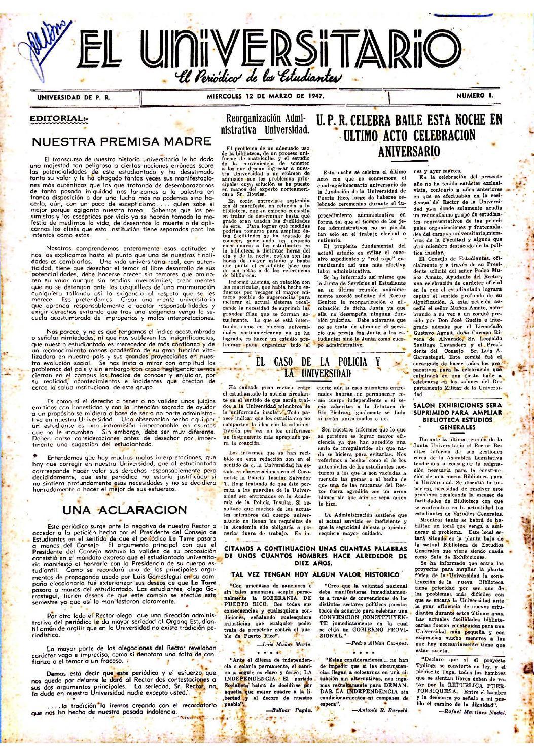 El Universitario 1947-1952 by Colección Puertorriqueña UPR RP - issuu