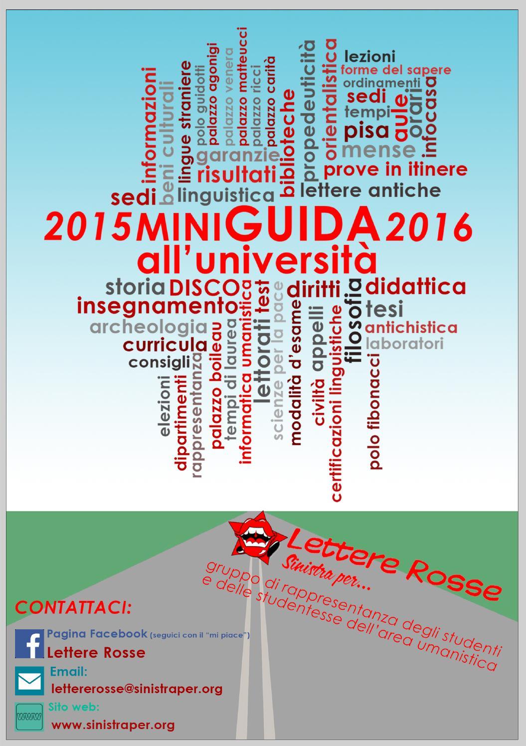 Calendario Lezioni Unipi.Miniguida 20152016 By Lettere Rosse Issuu
