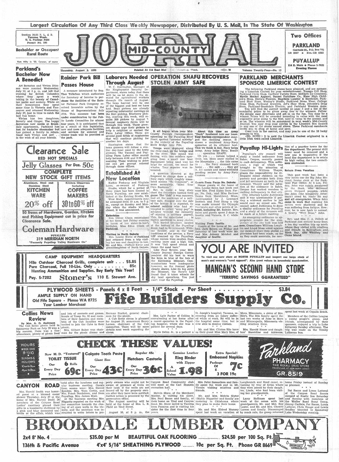 Mid county journal v 24 no 13 aug 3, 1950 by Pacific Lutheran ...