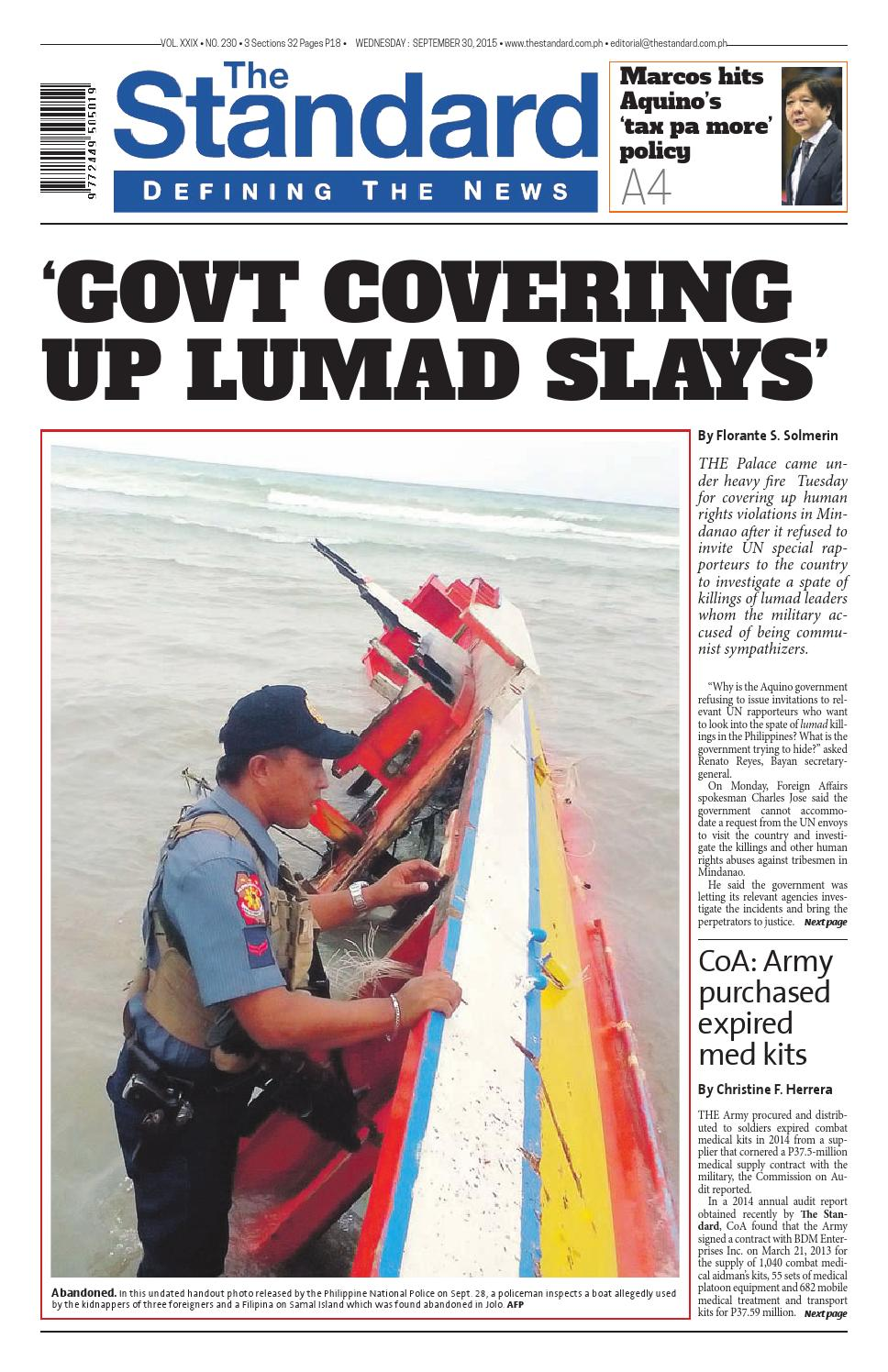 d6cba59859eb The Standard - 2015 September 30 - Wednesday by Manila Standard - issuu