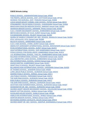 Listings of CBSE/CISCE(ICSE-ISC) Schools by Prashant