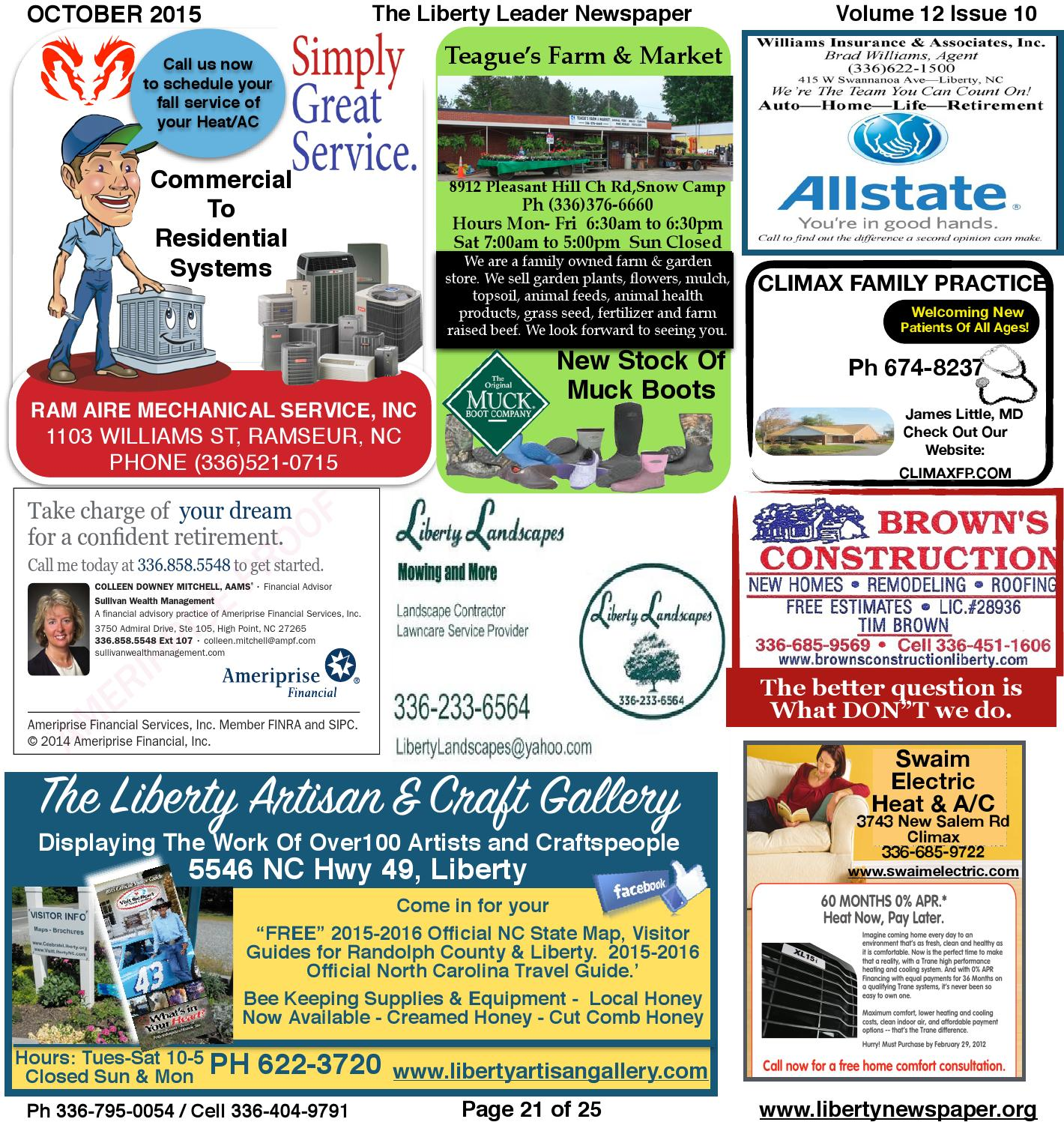 Liberty Leader Newspaper Oct 2015 By Kevin Bowman Issuu