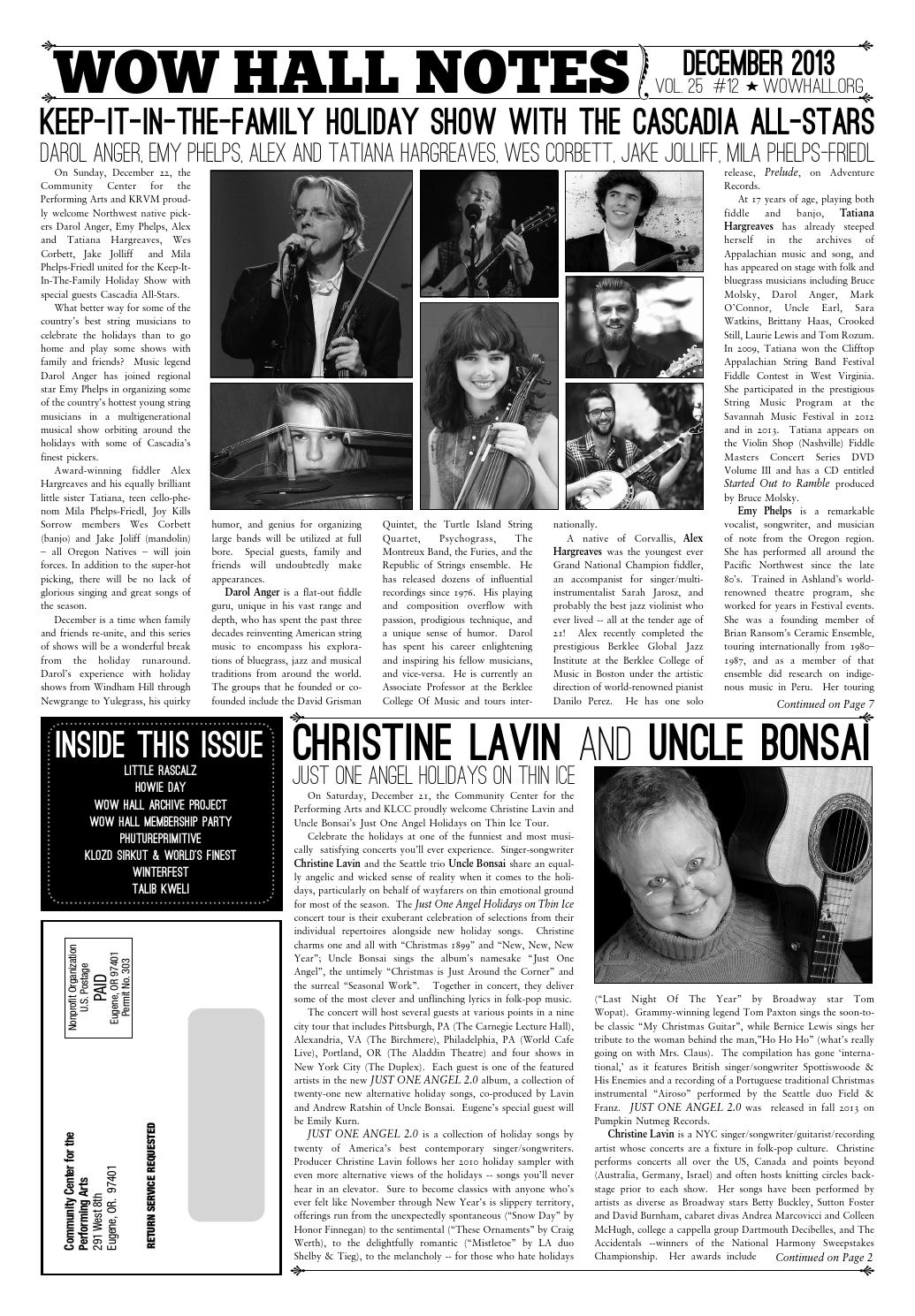 WOW Hall Notes - December 2013 by WOW Hall - issuu