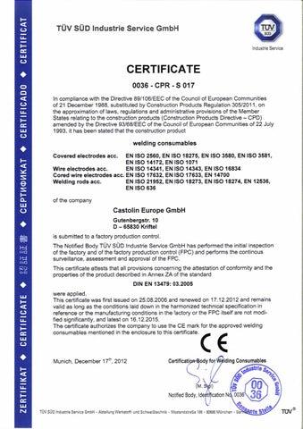 De zertifikat castolin europe bauproduktenrichtlinie by Castolin ...