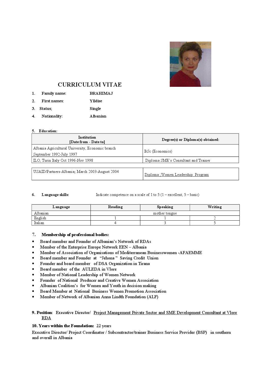 cv ylldise brahimi eu format 2015 by ylldise brahimi