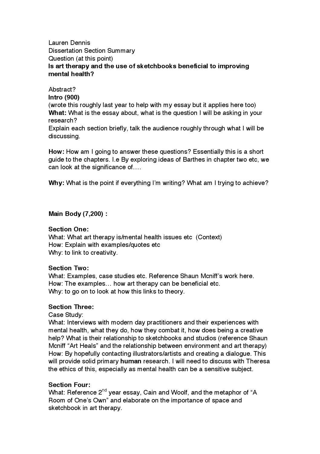 Dissertation Section Summary Sept By Lauren Dennis Issuu