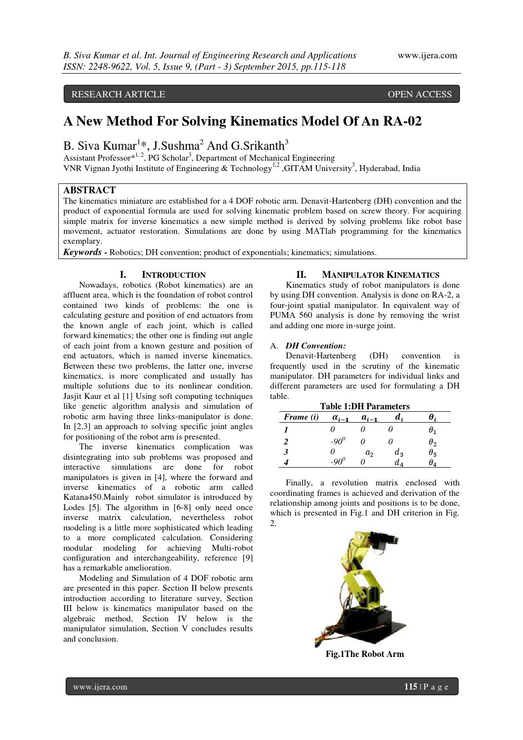 A New Method For Solving Kinematics Model Of An RA-02 by