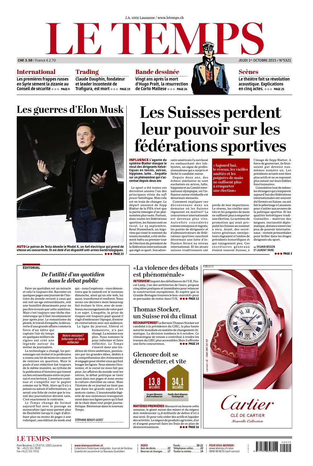 f290728fe12cc Le Temps du 30 septembre 2015 by Le Temps - issuu