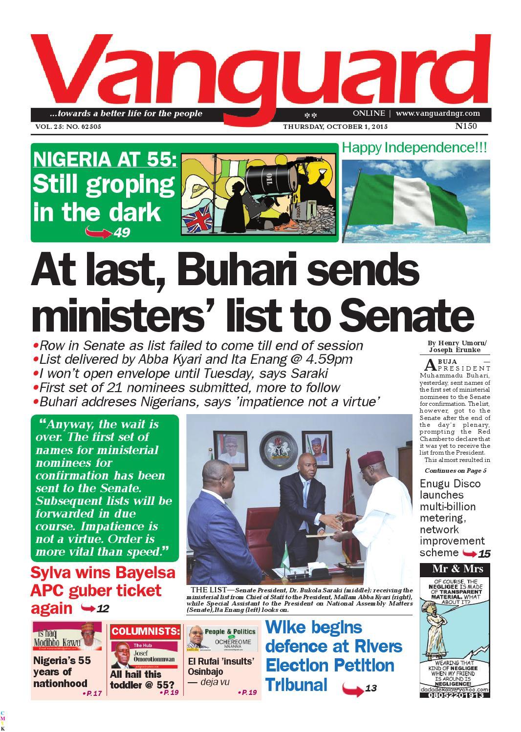 At Last Buhari Sends Ministers List To Senate By Vanguard