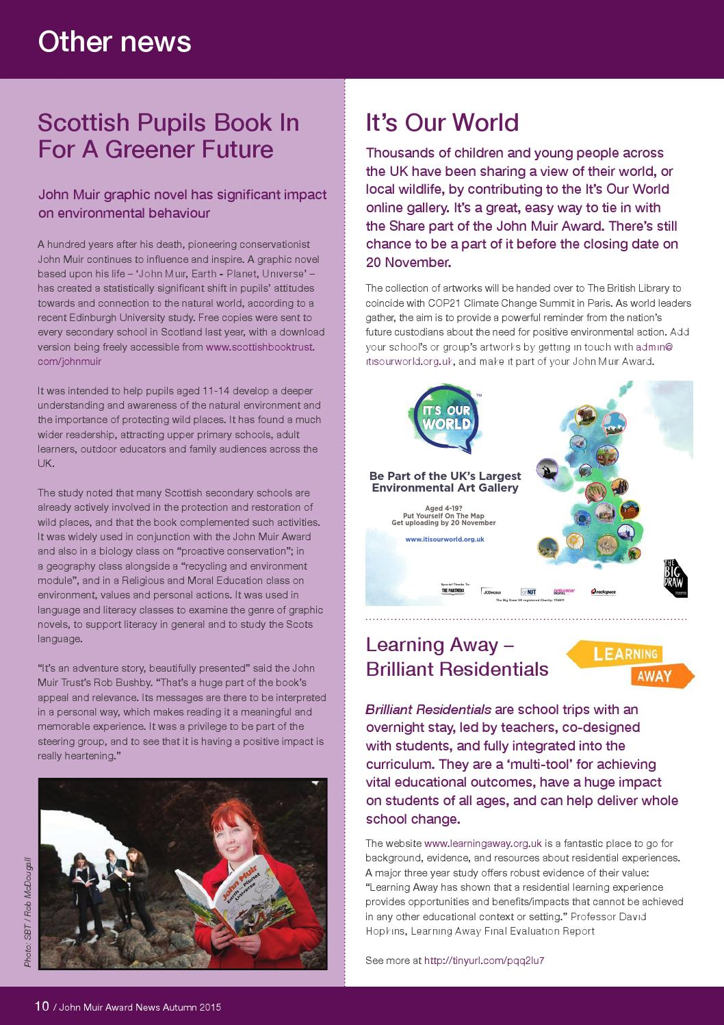 John Muir Award Autumn Newsletter 2015