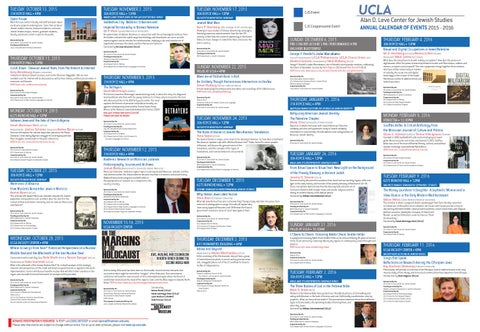 Ucla Calendar.Ucla Alan D Leve Center For Jewish Studies Annual Calendar 2015 2016