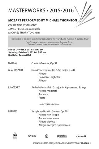 Mozart Performed by Michael Thornton | Program Notes by Colorado