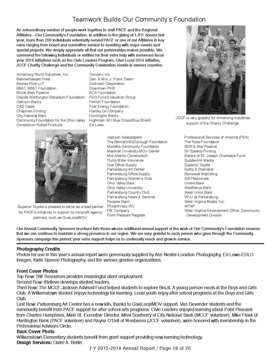 PACF Annual Report 2014 By Parkersburg Area Community Foundation U0026 Regional  Affiliates (PACF)   Issuu