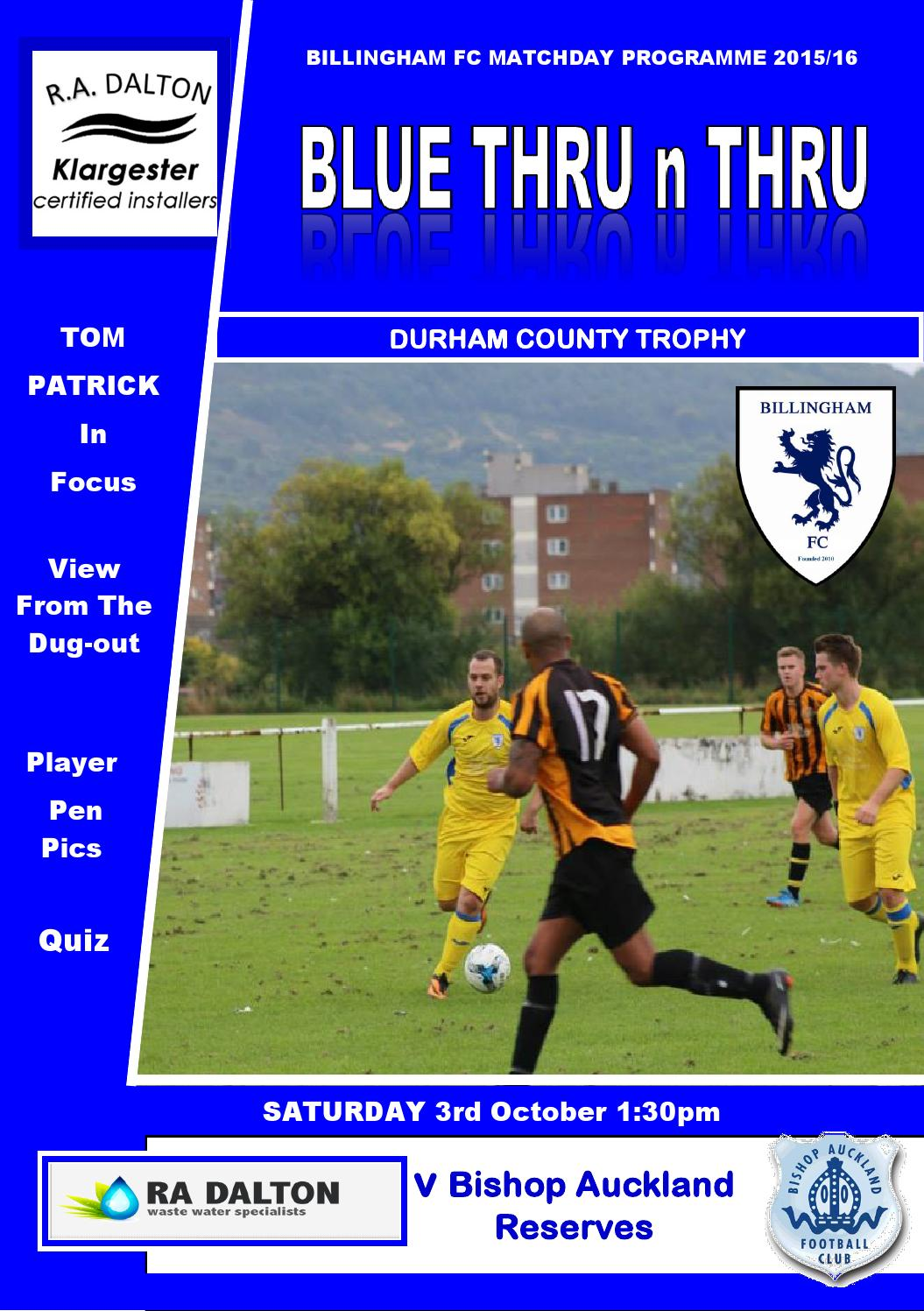 Bishop Auckland Res County Cup 3 10 15 By Billingham Fc Issuu