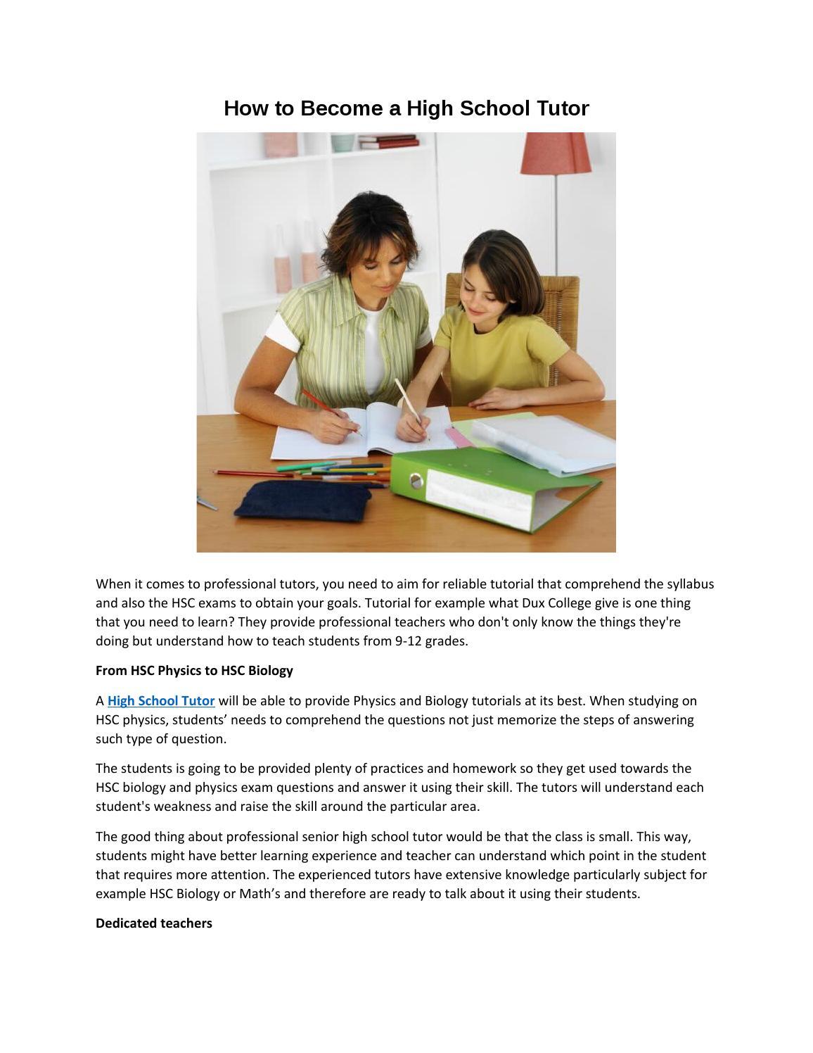 How to become a high school tutor by highschooltutors - issuu
