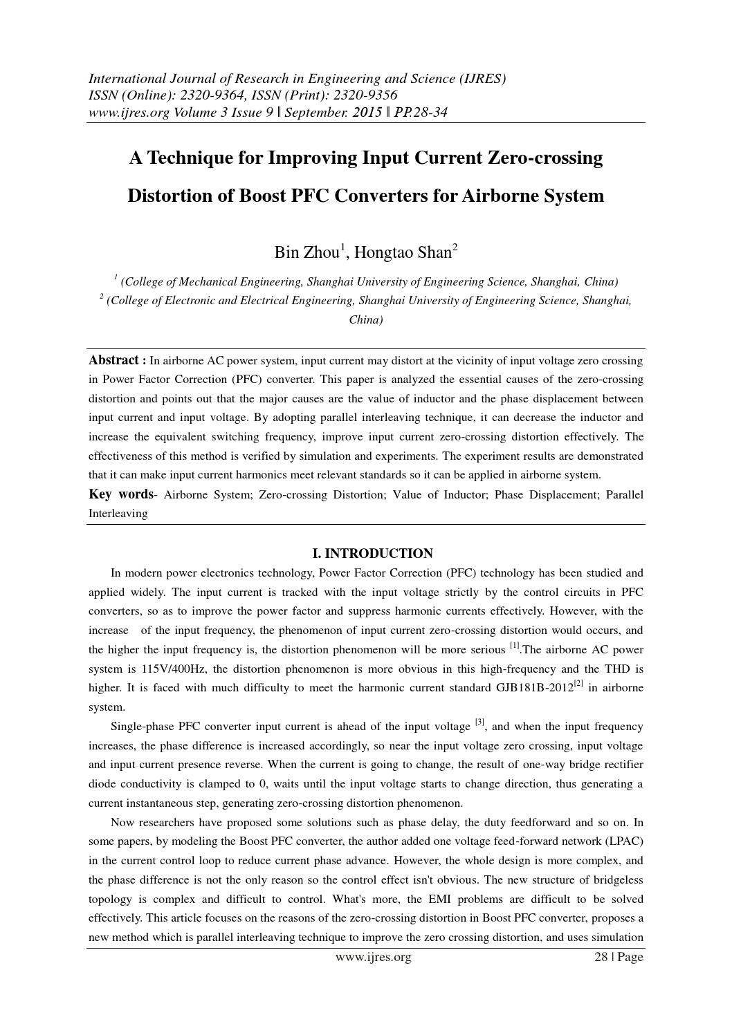 A Technique For Improving Input Current Zero Crossing Distortion Of Circuit Boost Pfc Converters By Ijres Journal Issuu