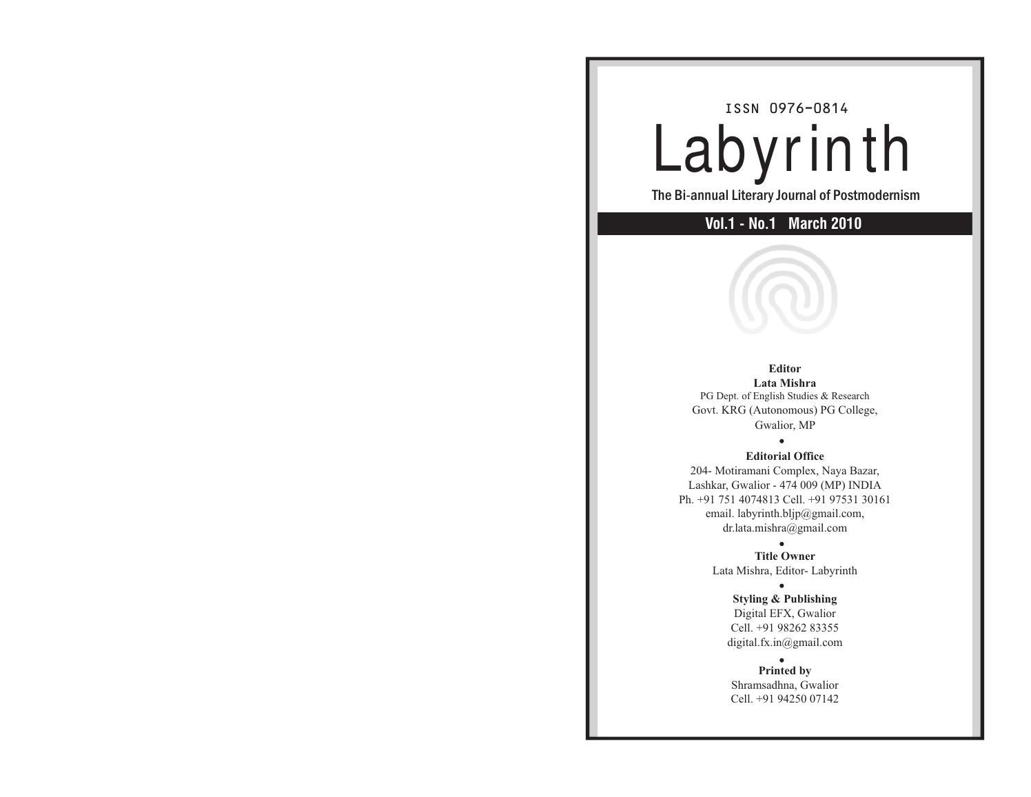 Labyrinth issn 0976 0814 volume 1 no 1 by labyrinth journal issuu buycottarizona Image collections