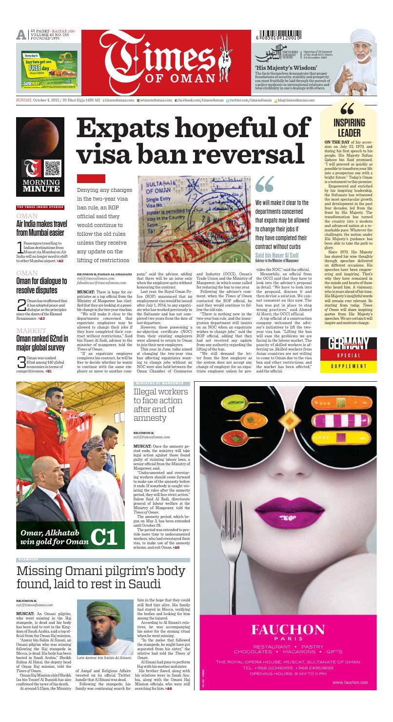Times of Oman - October 4, 2015 by Muscat Media Group - issuu