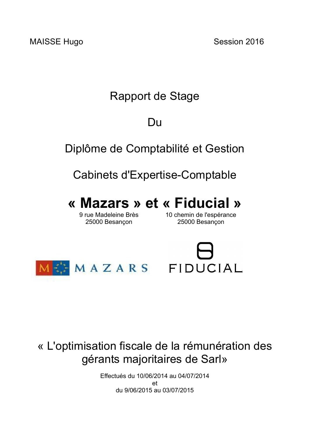 Rapport de stage dcg 3 immac by hugomaisse issuu - Rapport de stage cabinet comptable ...