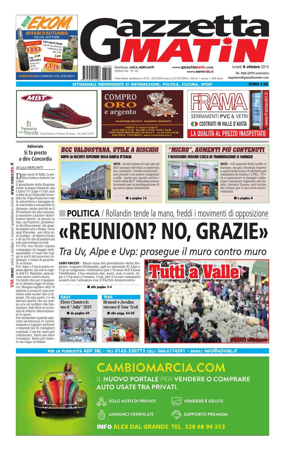 Gazzetta Matin Del 5 Ottobre 2015 By Newsvda Issuu