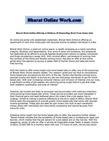 Bharat work online offering a plethora of rewarding work