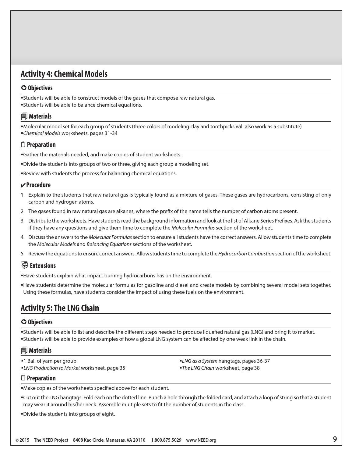 Liquefied Natural Gas by NEED Project issuu – Hydrocarbon Worksheet
