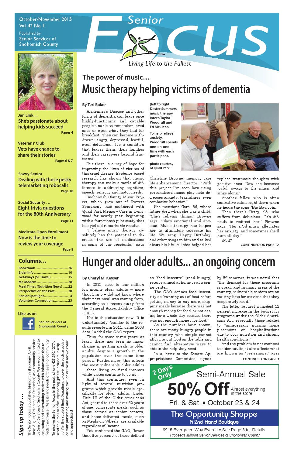 senior focus oct november 2015 by senior services of snohomish