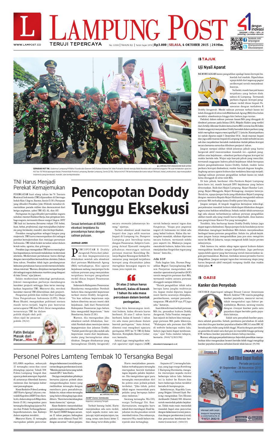 Lampung Post Selasa 6 Oktober 2015 By Issuu Produk Ukm Bumn Sulam Usus Pmk