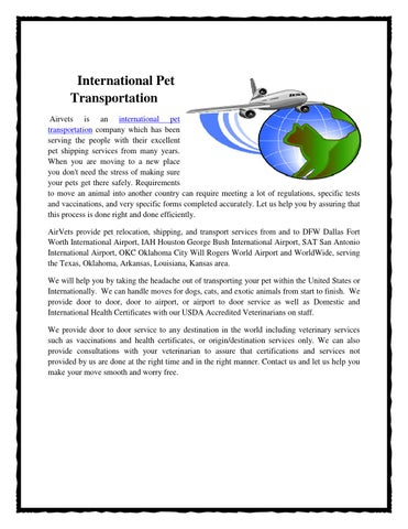 Pet shipping company by Airvets - issuu