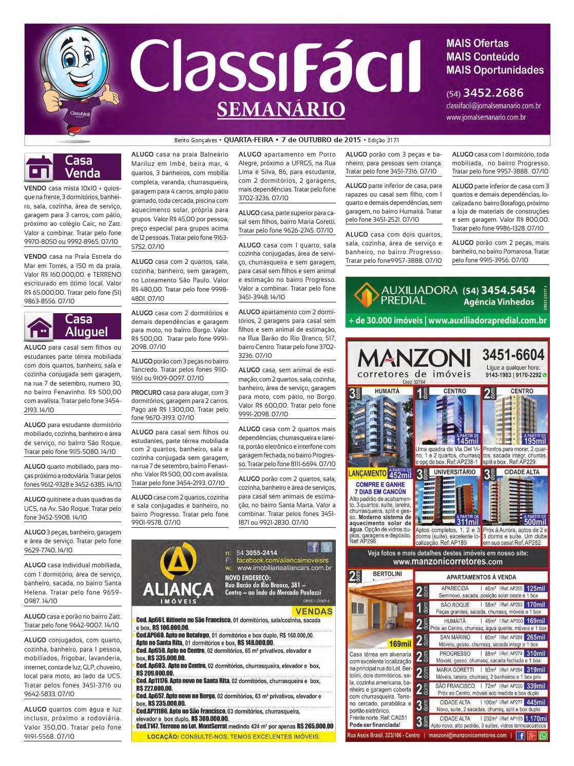 333ddb2ef17a2 06 10 2015 - Classificados - Edição 3171 by Jornal Semanário - Bento  Gonçalves - RS - issuu
