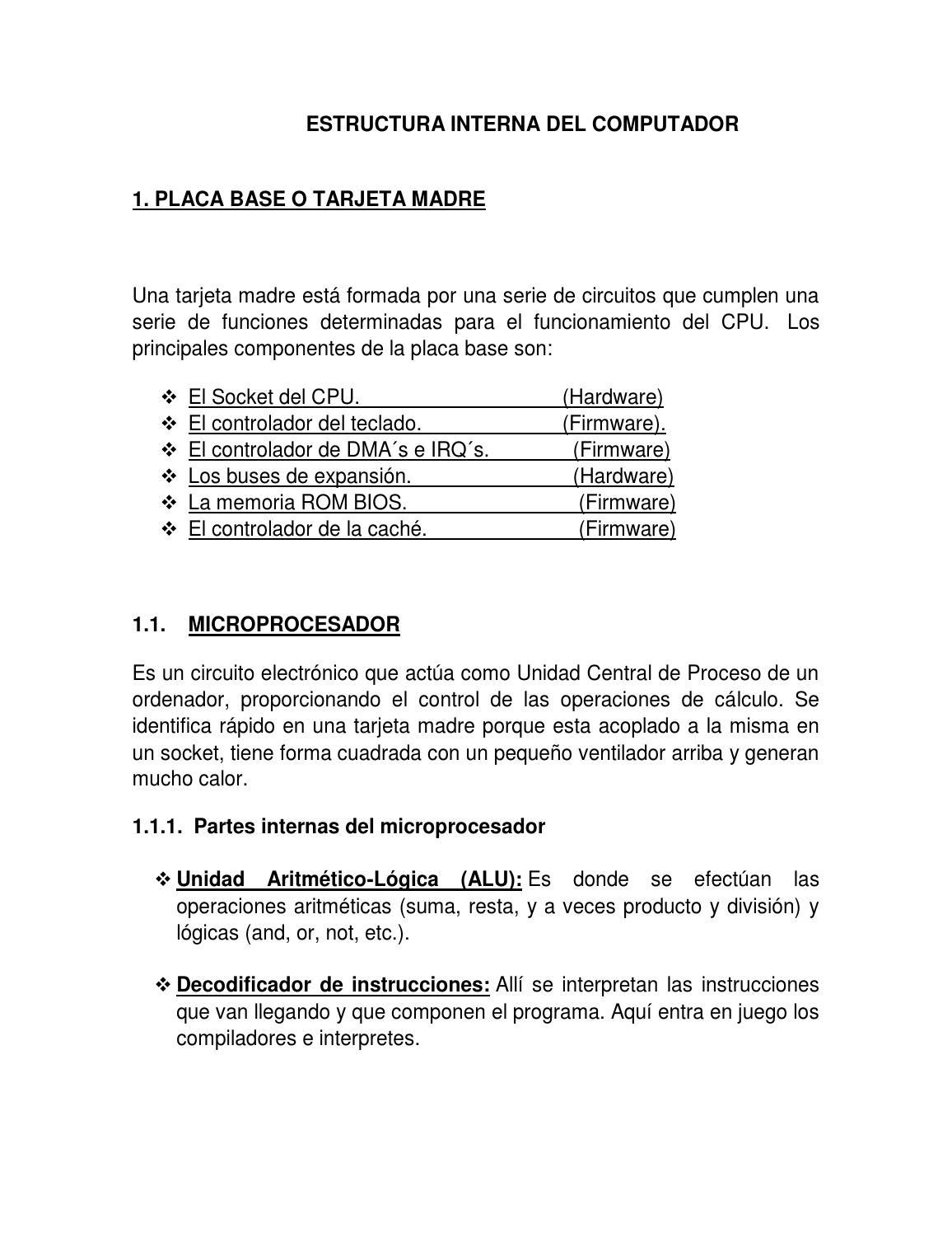 Estructura Interna Del Computador1 By Greidy Cecilia Arce