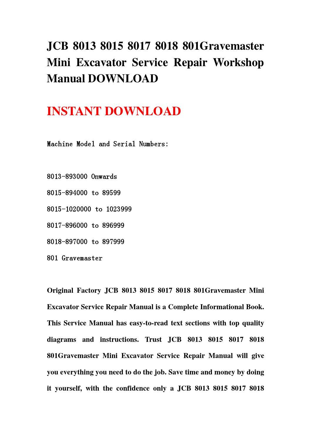 Jcb 8013 8015 8017 8018 801gravemaster Mini Excavator Service Repair Workshop Manual Download By