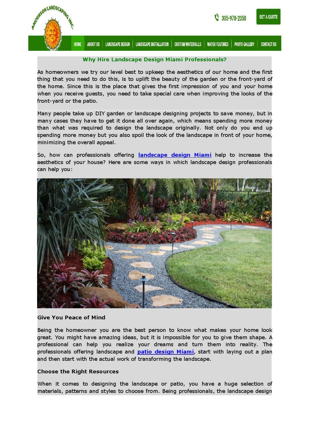 Why Hire Landscape Design Miami